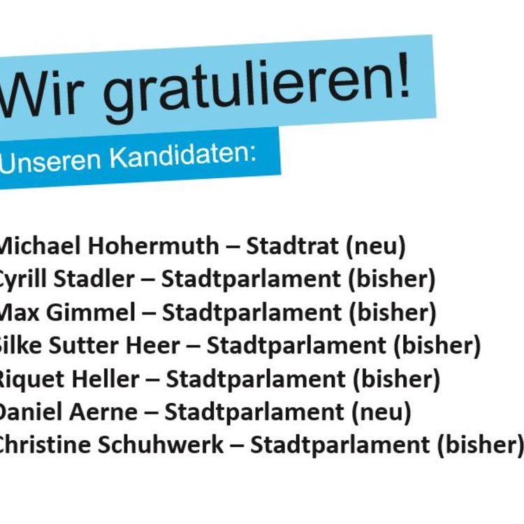 Wir gratulieren unseren gewählten Kandidaten